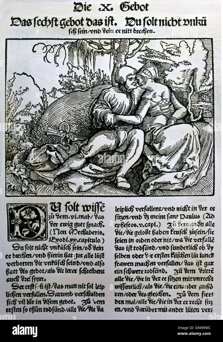 people, couple, lovers, woodcut by Hans Baldung Grien, 'Die zehen gebot erclert und usgelegt', 6th Commandment, - Stock Image