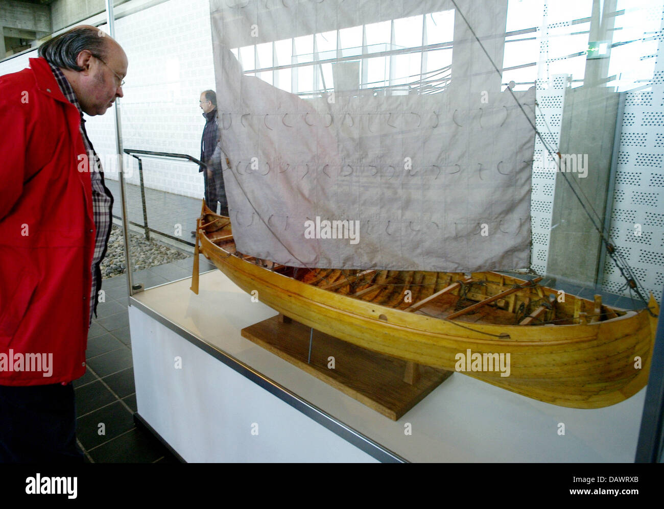 A visitor takes a look at a model of a Viking ship of the 11th century, discoverd in the Roskilde fjord in 1962, Stock Photo