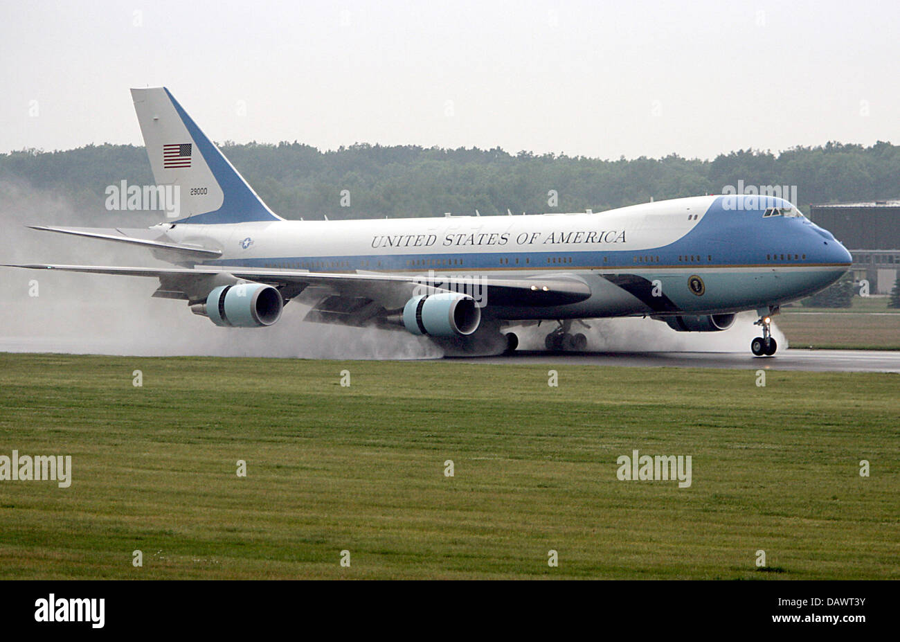 The Boeing 747 'Air Force One' of US President George W. Bush arrives to the G8 Summit Heiligendamm at the - Stock Image