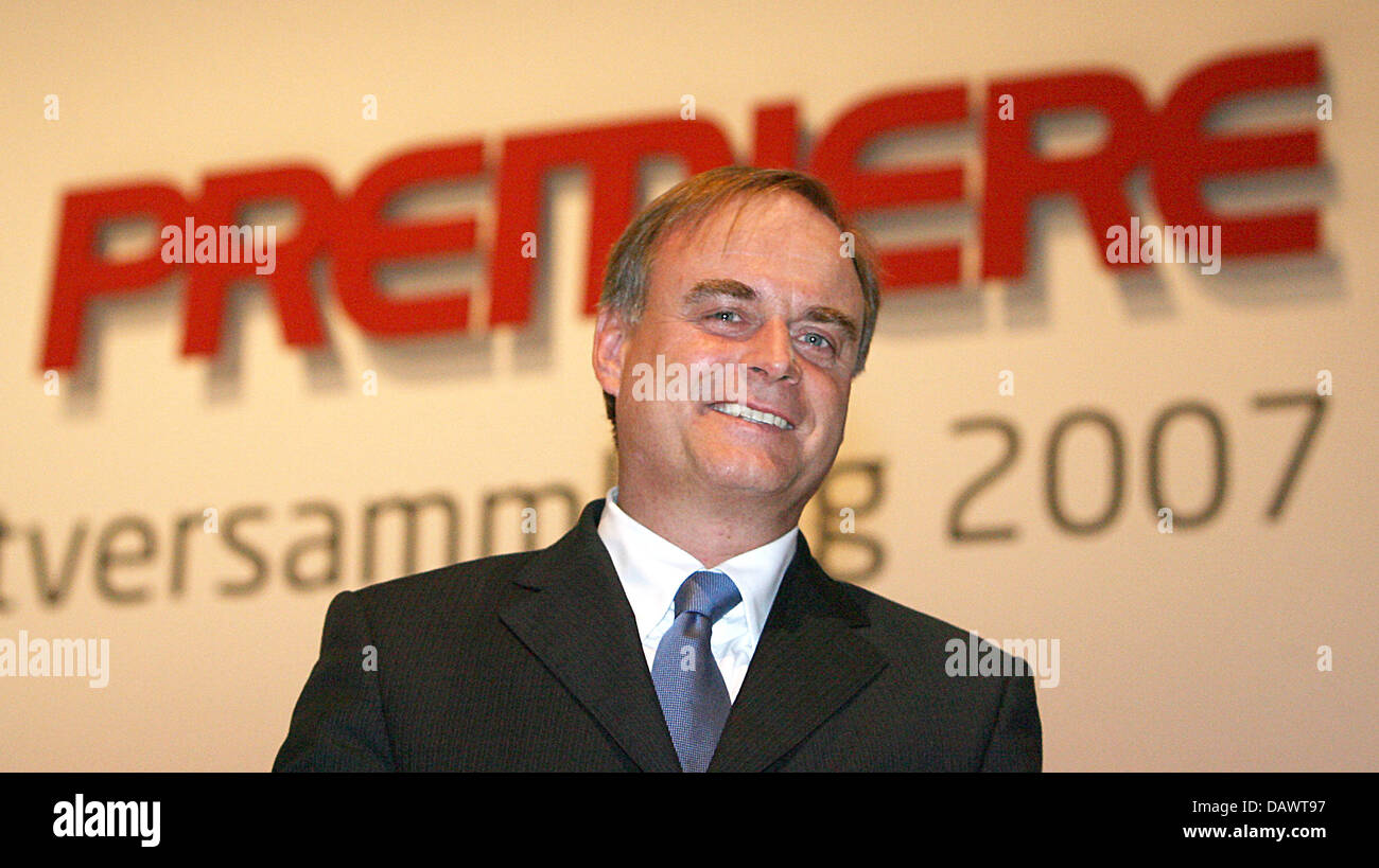 CEO of the pay television network 'Premiere', Georg Kofler, is pictured before the company's general - Stock Image