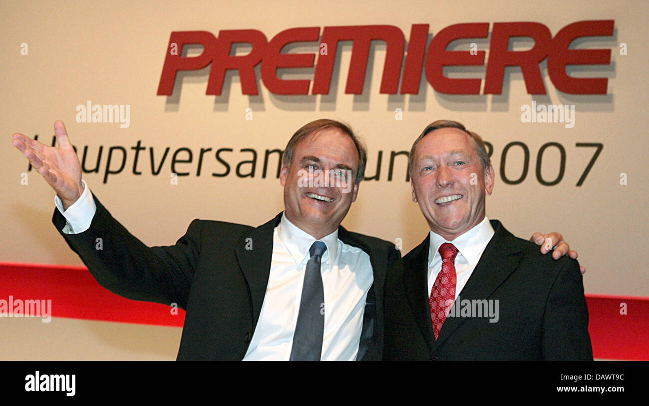 CEO of the pay television network 'Premiere', Georg Kofler (L), and CFO Michael Boernicke pose prior to - Stock Image