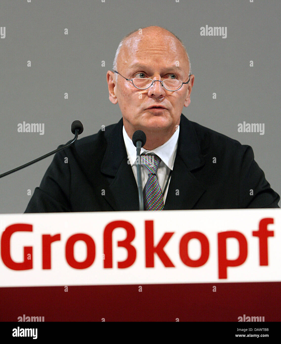 Rainer Grosskopf, pay television network 'Premiere' chairman of the supervisory board, gives a speech during - Stock Image