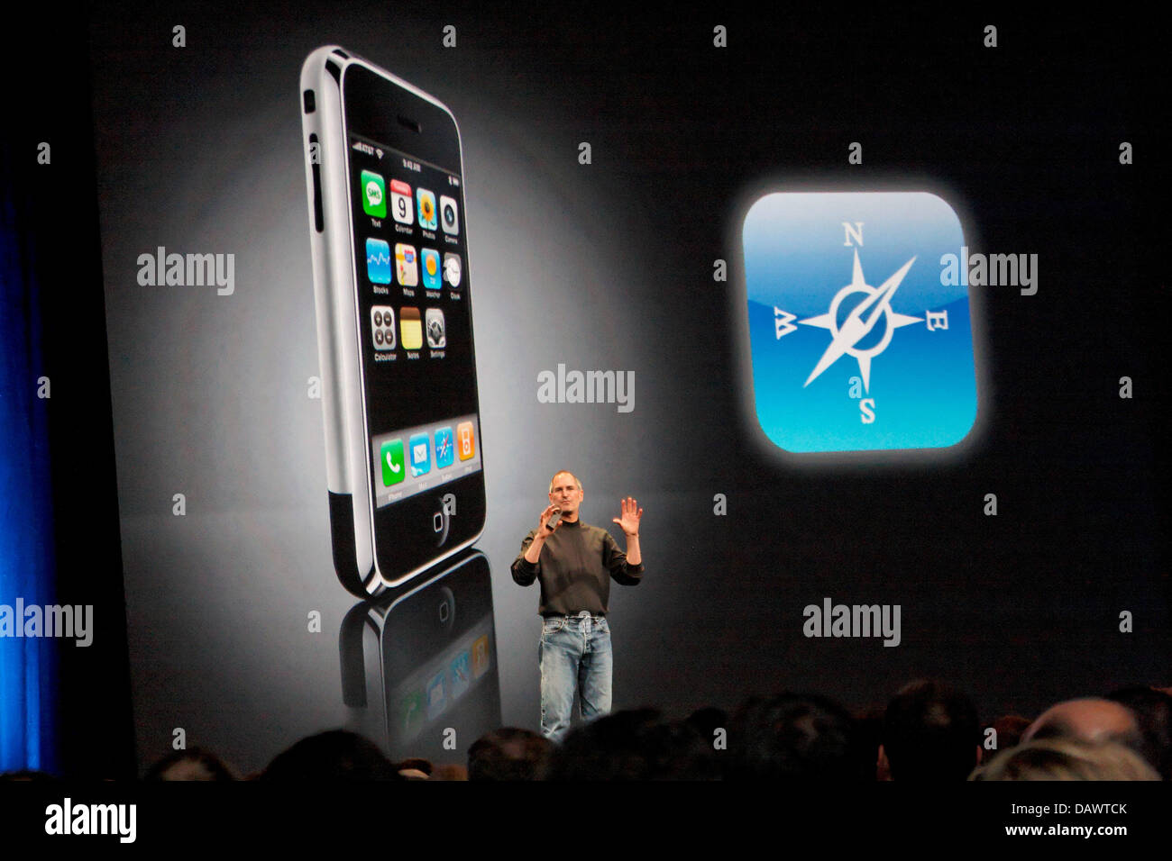 Apple CEO Steve Jobs presents Apple's new 'iPhone' at the Worldwide Developers Conference (WWDC) in - Stock Image