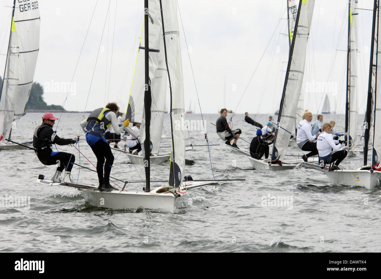 Participants in the 49er class regatta compete at the Kiel Week offshore Kiel, Germany, 16 June 2007. More than - Stock Image