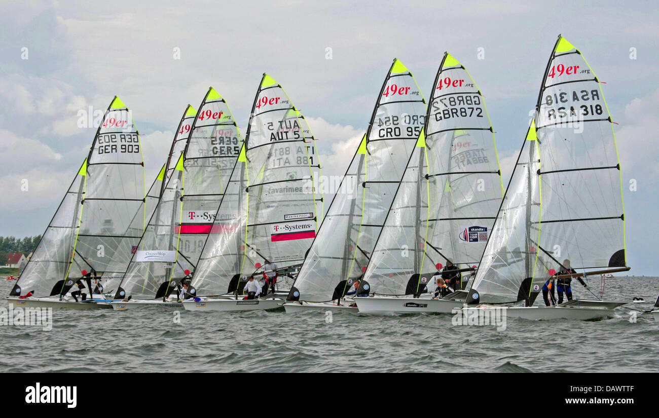 Participants in the 49er class regatta compete at the Kiel Week offshore Kiel, Germany, 17 June 2007. More than - Stock Image
