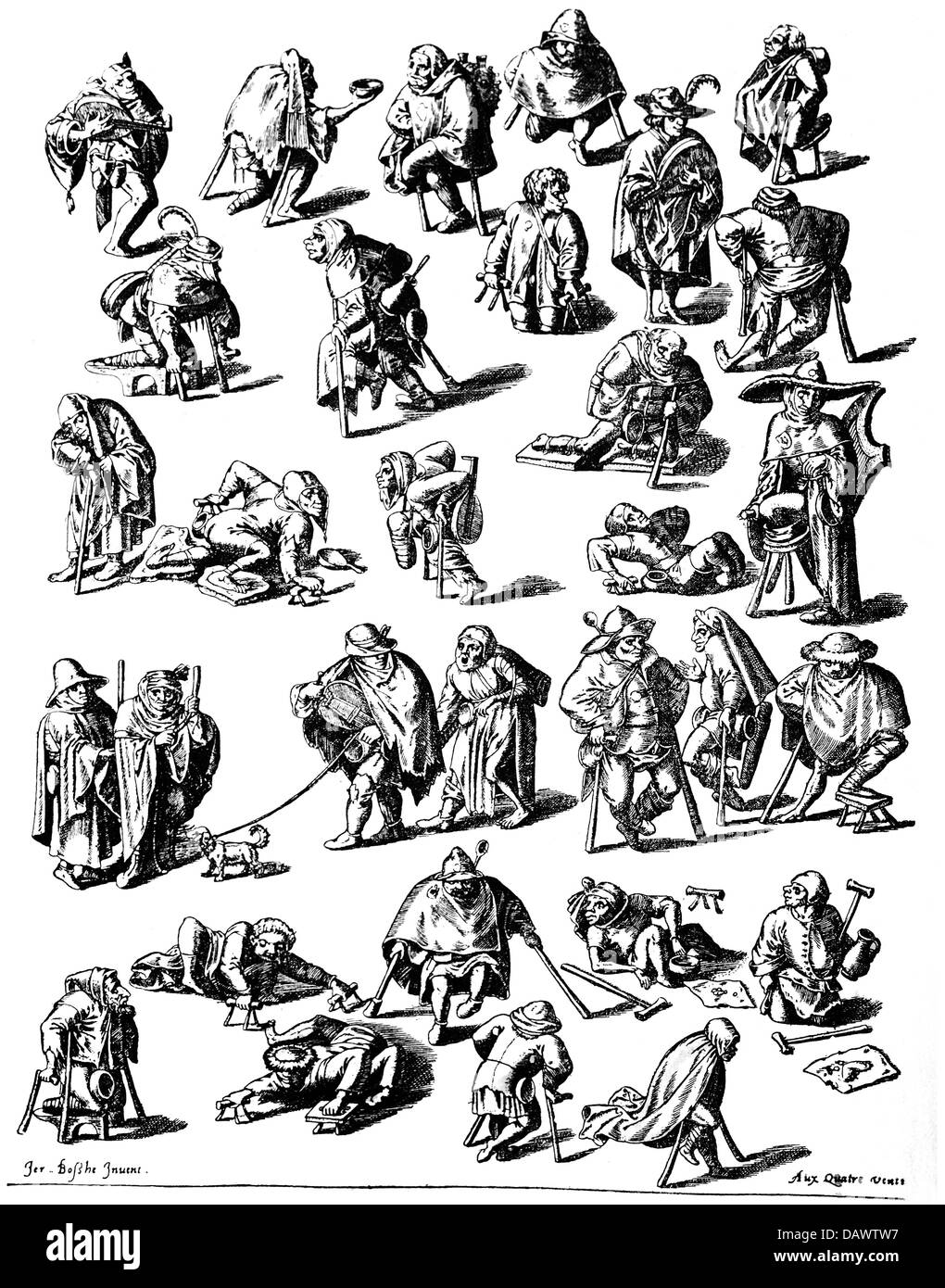 people, hardship / adversity, beggars, copper engraving after Hieronymus Bosch, circa 1550, private collection, - Stock Image