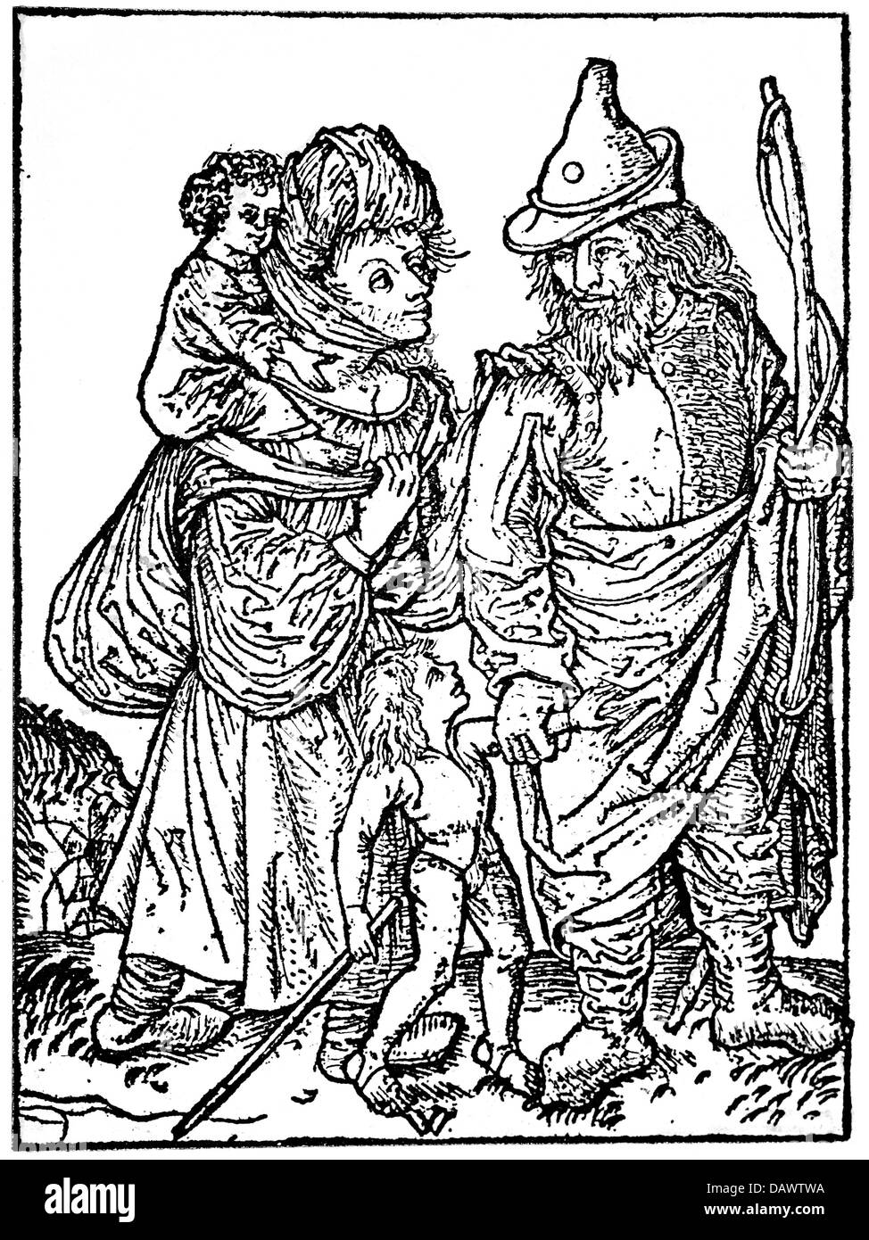 people, hardship / adversity, Middle Ages, family with two children on the tramp, woodcut, by the Master of the - Stock Image
