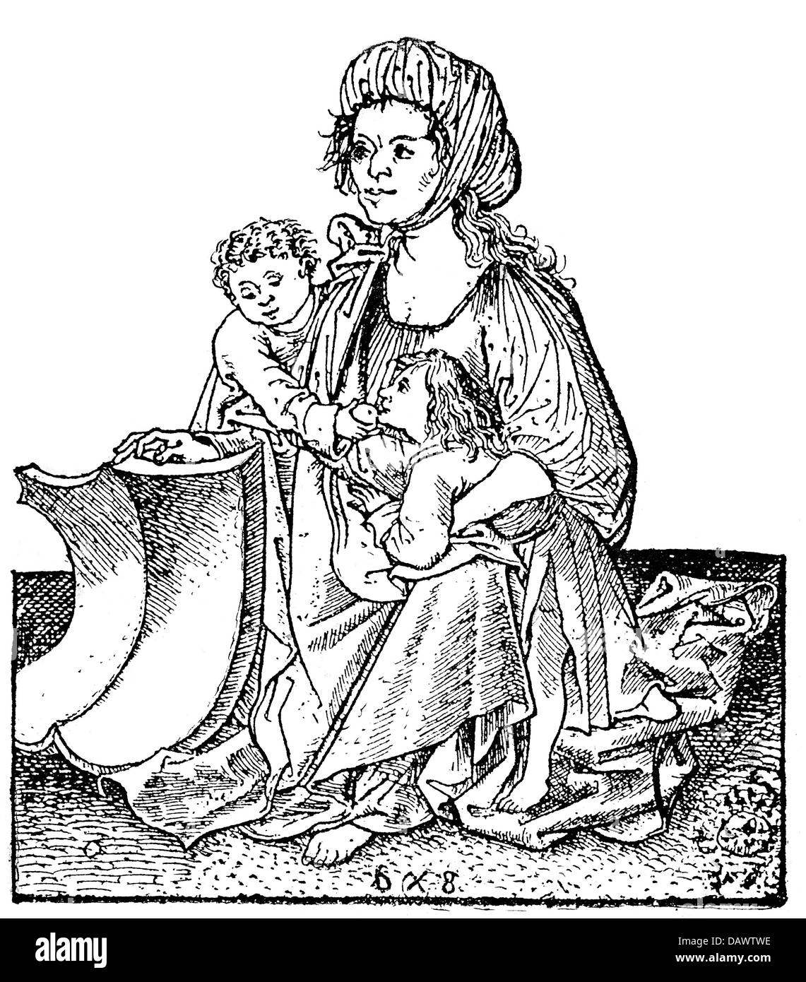 people, hardship / adversity, Middle Ages, begging woman with two children, copper engraving, late 15th century, - Stock Image