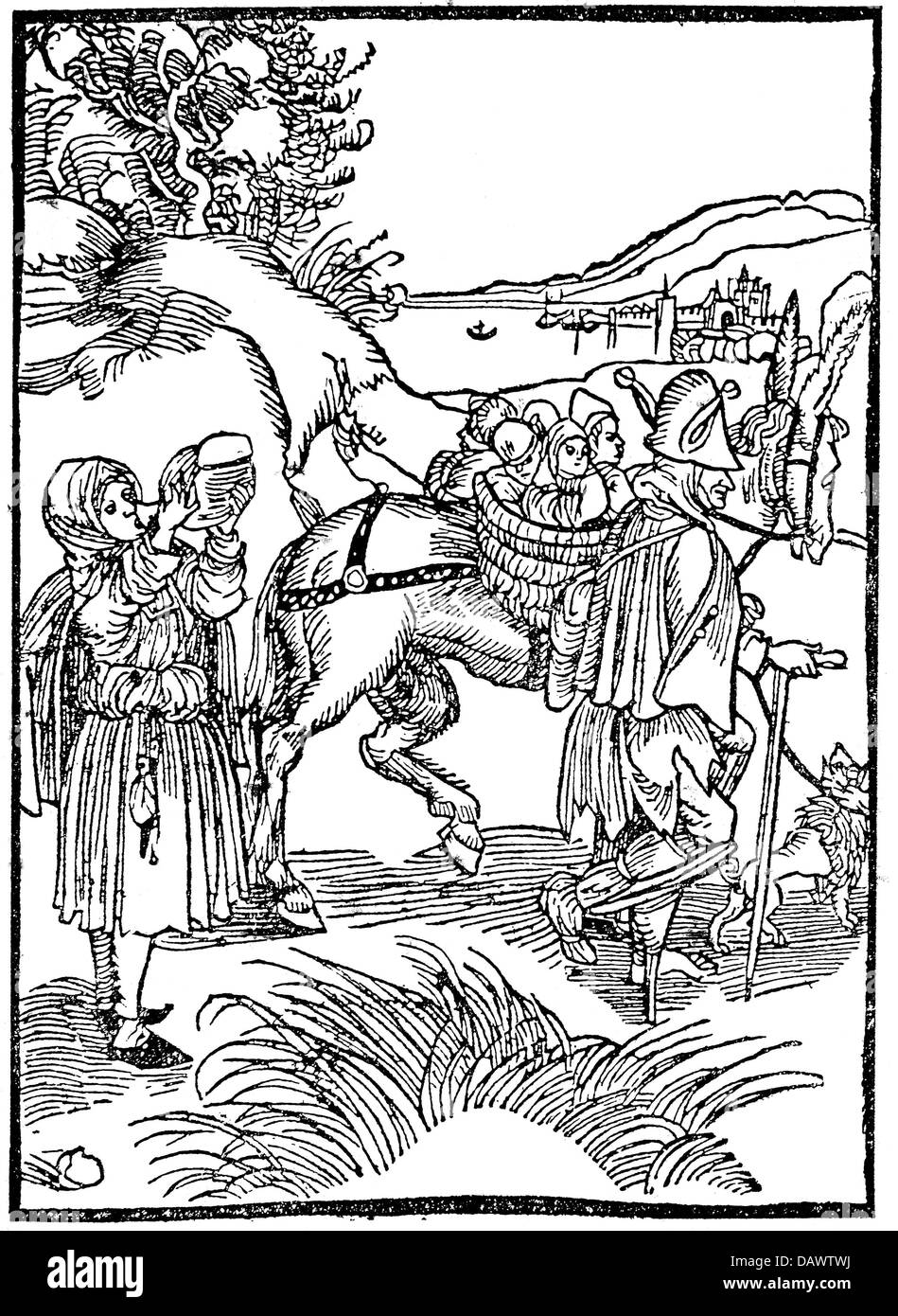 people, poverty / hardship / adversity, beggar family with many children, woodcut, illustration from the 'Ship - Stock Image