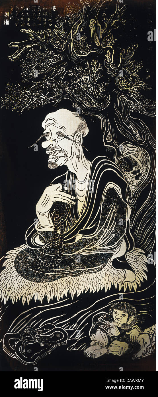 fine arts, China, 9th Arhat, brass rubbing after painting of the 16 Arhat by Guan Hsiu, height: 112 cm, 11th century - Stock Image