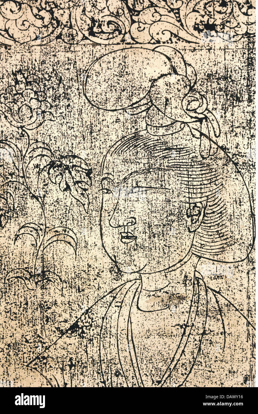 fine arts, China, Tang Dynasty, portrait of a lady, brass rubbing of a doorframe, Tshangan, Shensi, 716, art, Chinese, - Stock Image