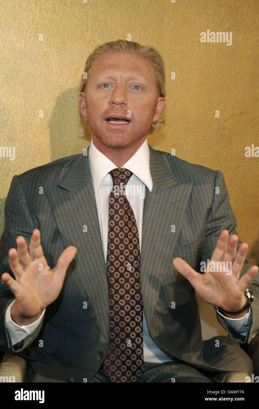 Former tennis pro Boris Becker gestures during the presentation of the new 'Boris Becker' (BB) tennis collection - Stock Image