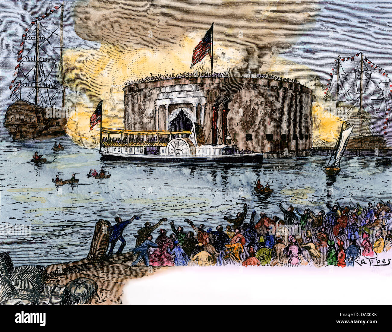 Lafayette landing in New York to begin his Grand Tour of the US, 1824. Hand-colored woodcut - Stock Image