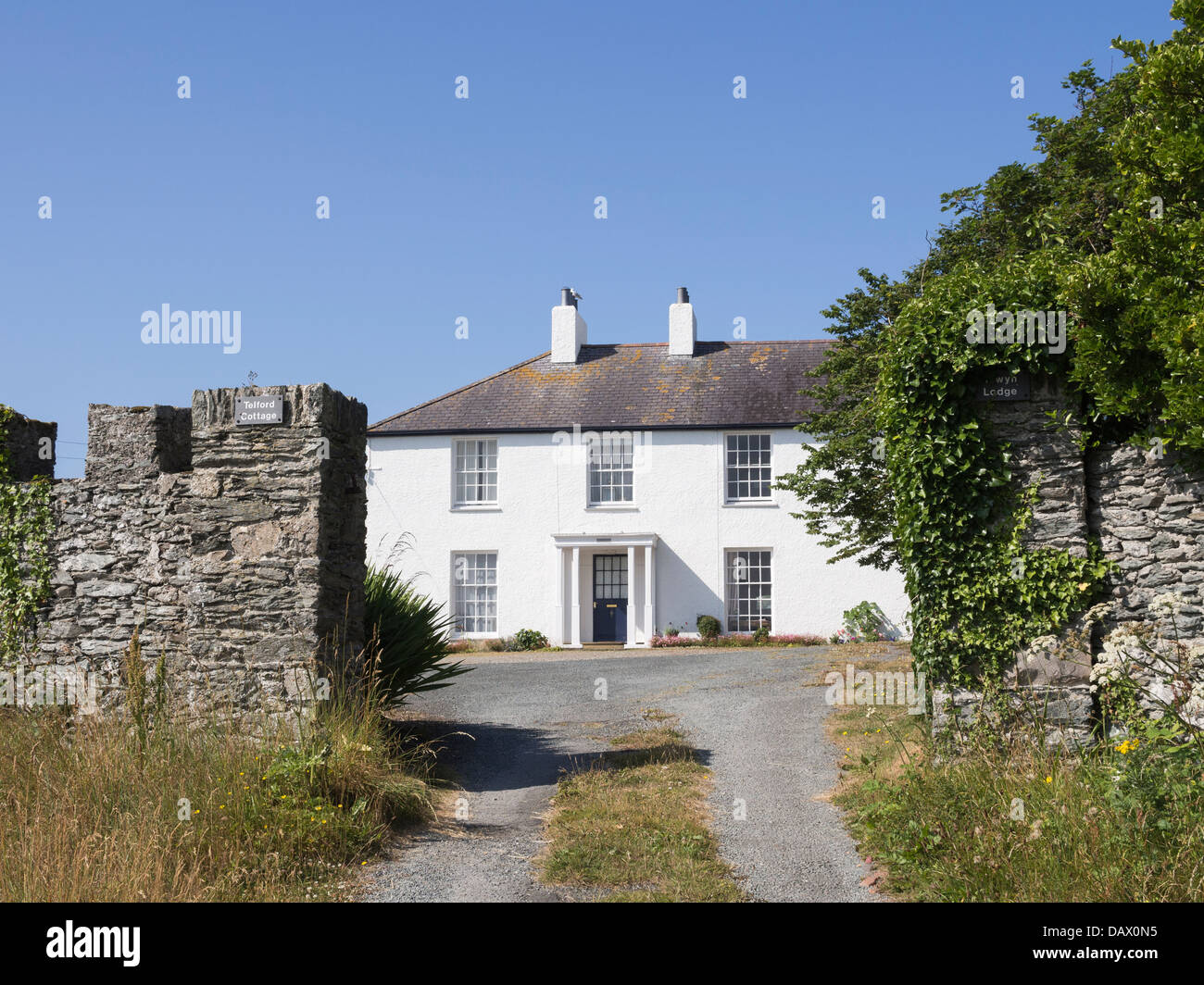 Telford Cottage where Thomas Telford lived whilst building the Menai suspension bridge Trearddur isle of Anglesey - Stock Image