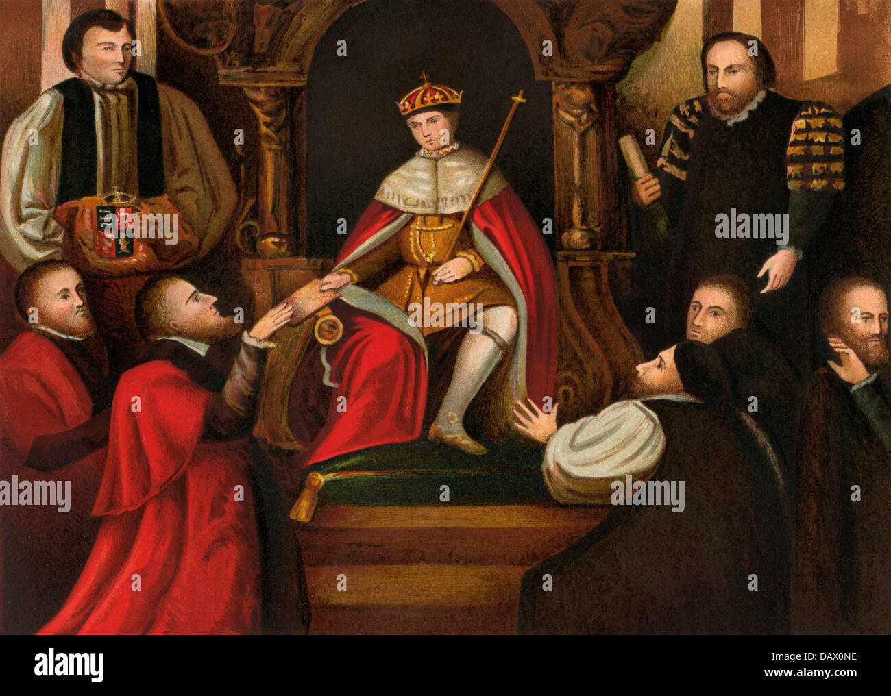 King of England Edward VI confirming his father's gift of Christ's Hospital to the city of London. Color - Stock Image