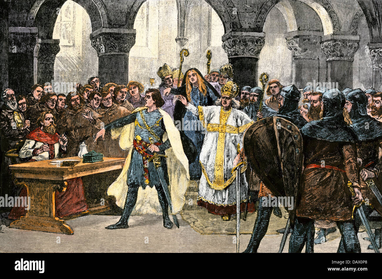 Holy Roman Emperor Henry IV arguing with Pope Gregory VII at Worms, 1076. Hand-colored woodcut - Stock Image