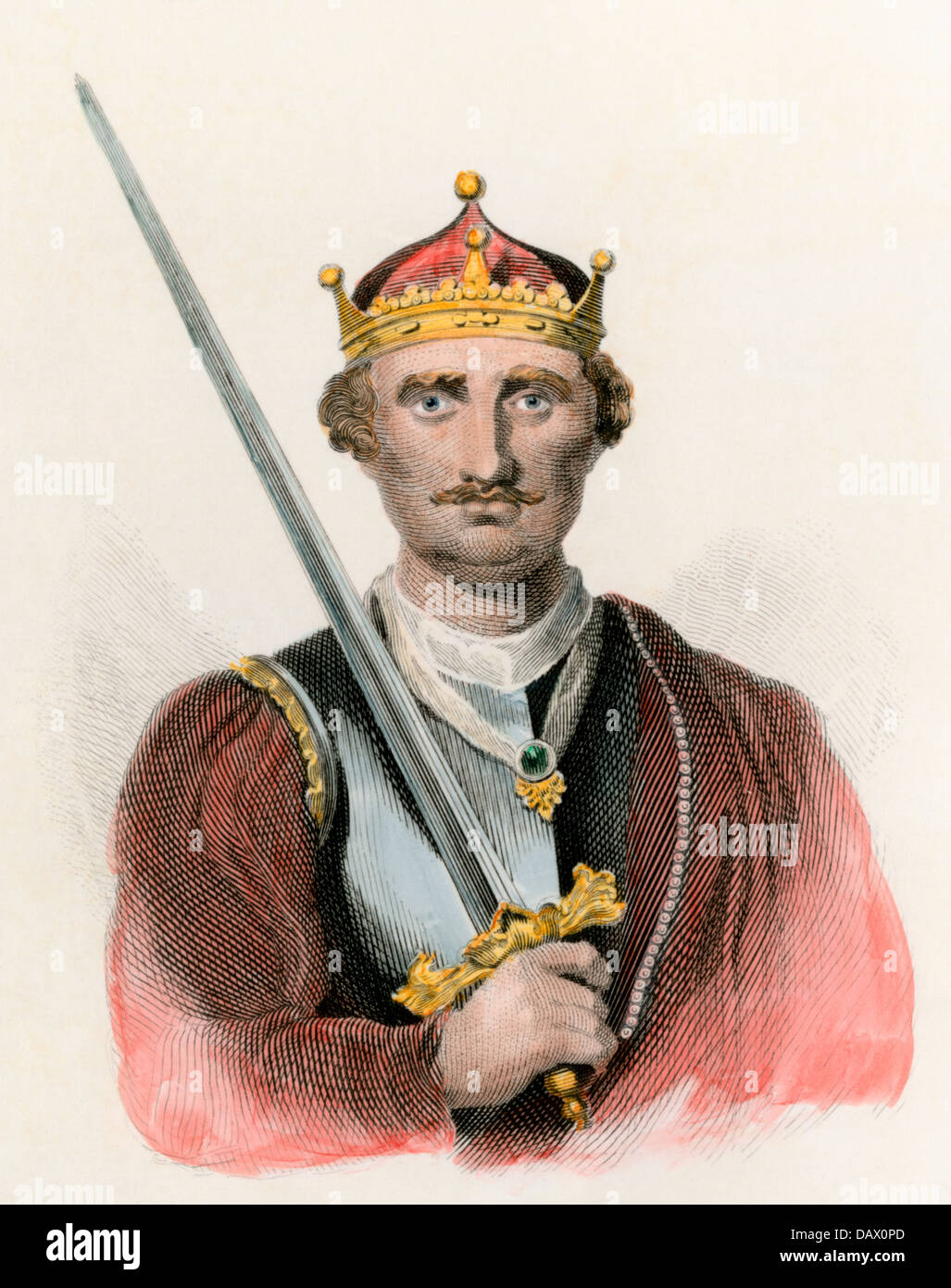 King of England William I, the Conqueror, carrying a sword. Hand-colored engraving - Stock Image