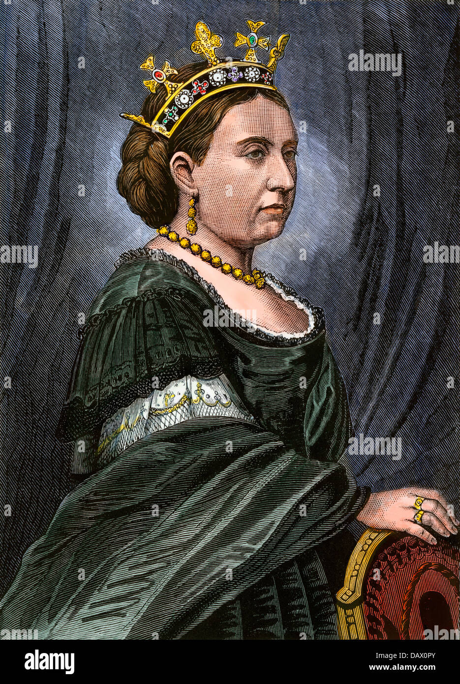 Queen of England Victoria I, 1870s. Hand-colored woodcut - Stock Image