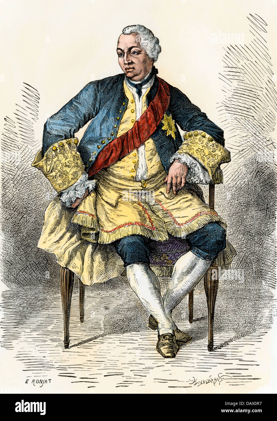 George III, King of England during the American Revolution. Hand-colored woodcut - Stock Image