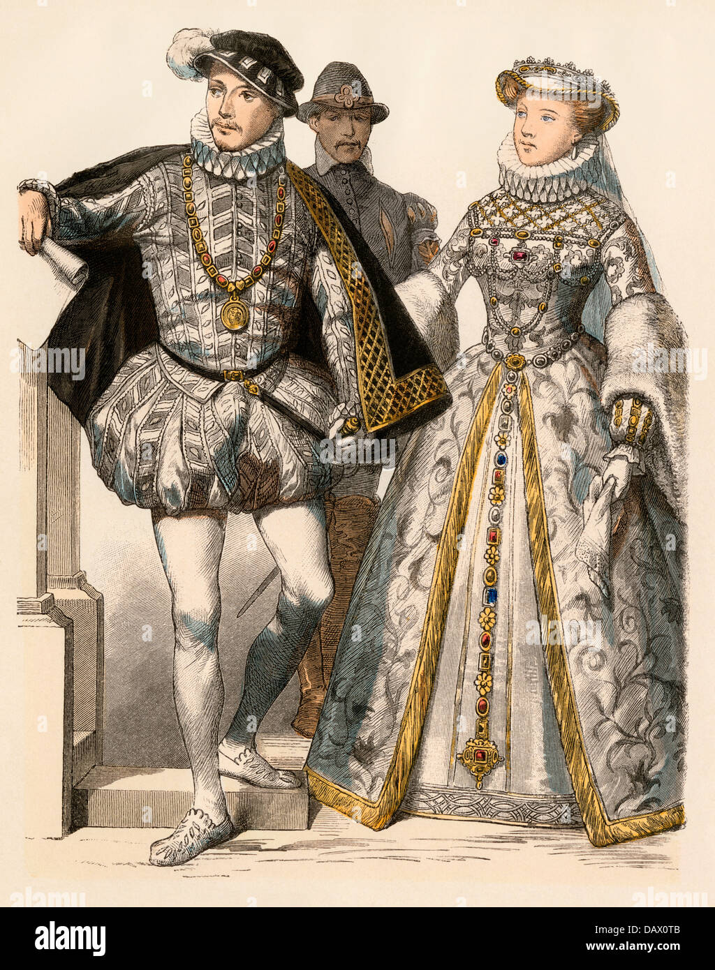 King of France Charles IX and his wife, Elizabeth of Austria, 1500s. Hand-colored print Stock Photo