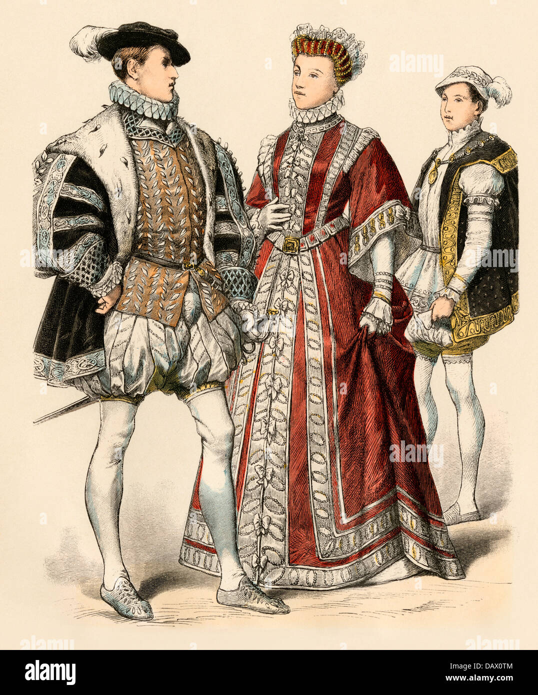 Francis II as King of France (left), as Dauphin (right); and his sister, Elizabeth de Valois, wife of Spanish King Stock Photo