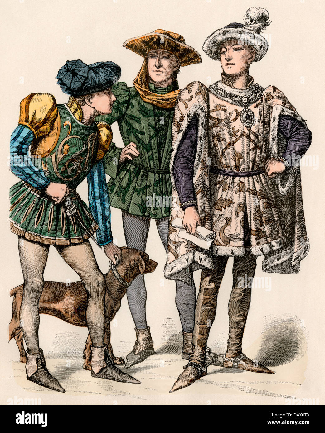 Charles the Bold, Duke of Burgundy (right), with his attendants, 1400s. Hand-colored print - Stock Image