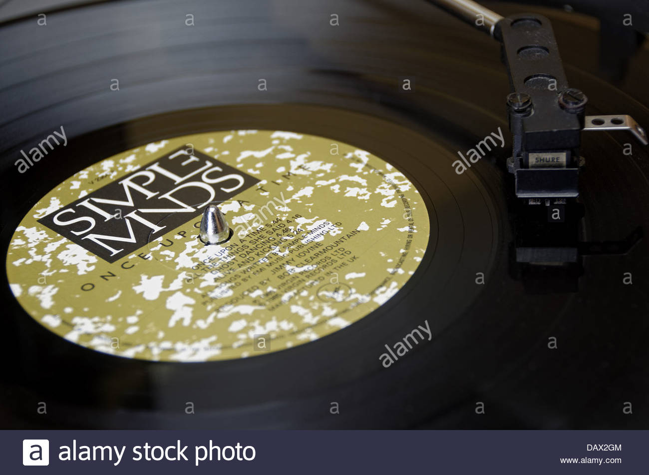 Virgin Records record company music label for the album Once Upon A Time by the band Simple Minds released in 1985. - Stock Image