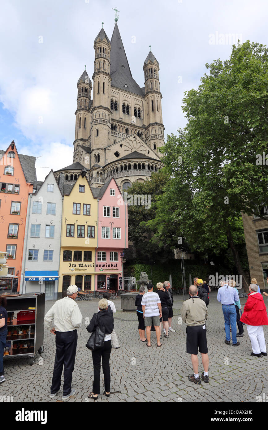 Gross St. Martin Church, Martinsviertel Altstadt historic Old Town of Cologne, Germany - Stock Image