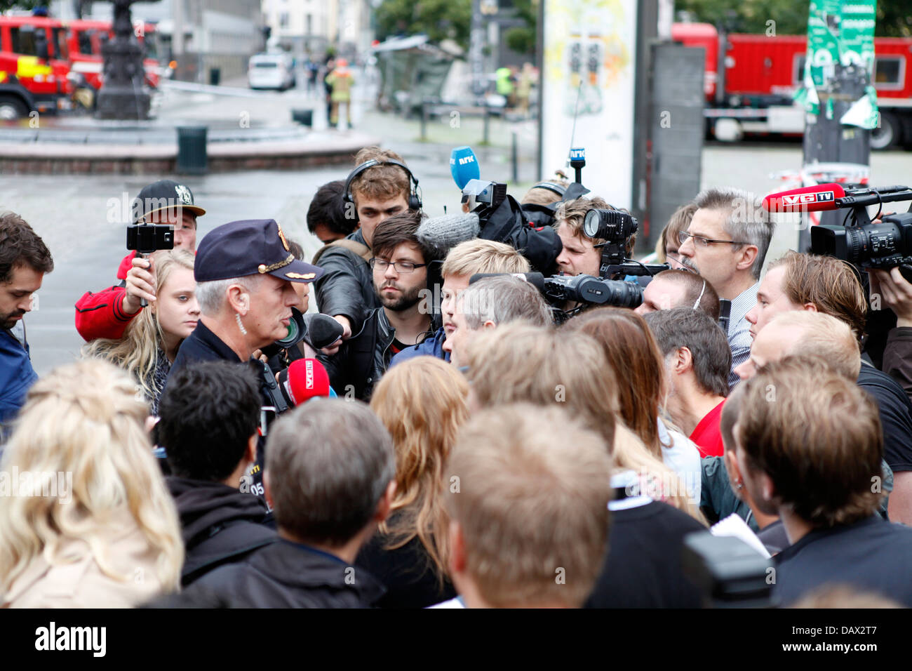 Police press conference in Oslo, Youngstorget, 22. July, 2011, on the terrorist attack. - Stock Image