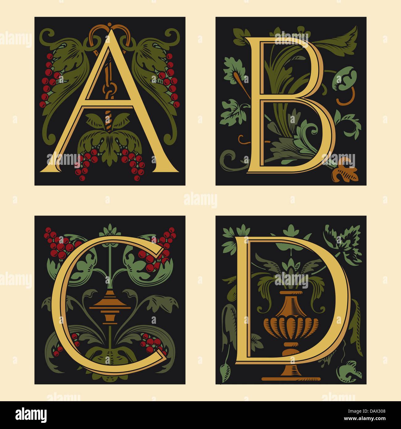 Sixteenth-Century alphabet A B C D - Stock Image