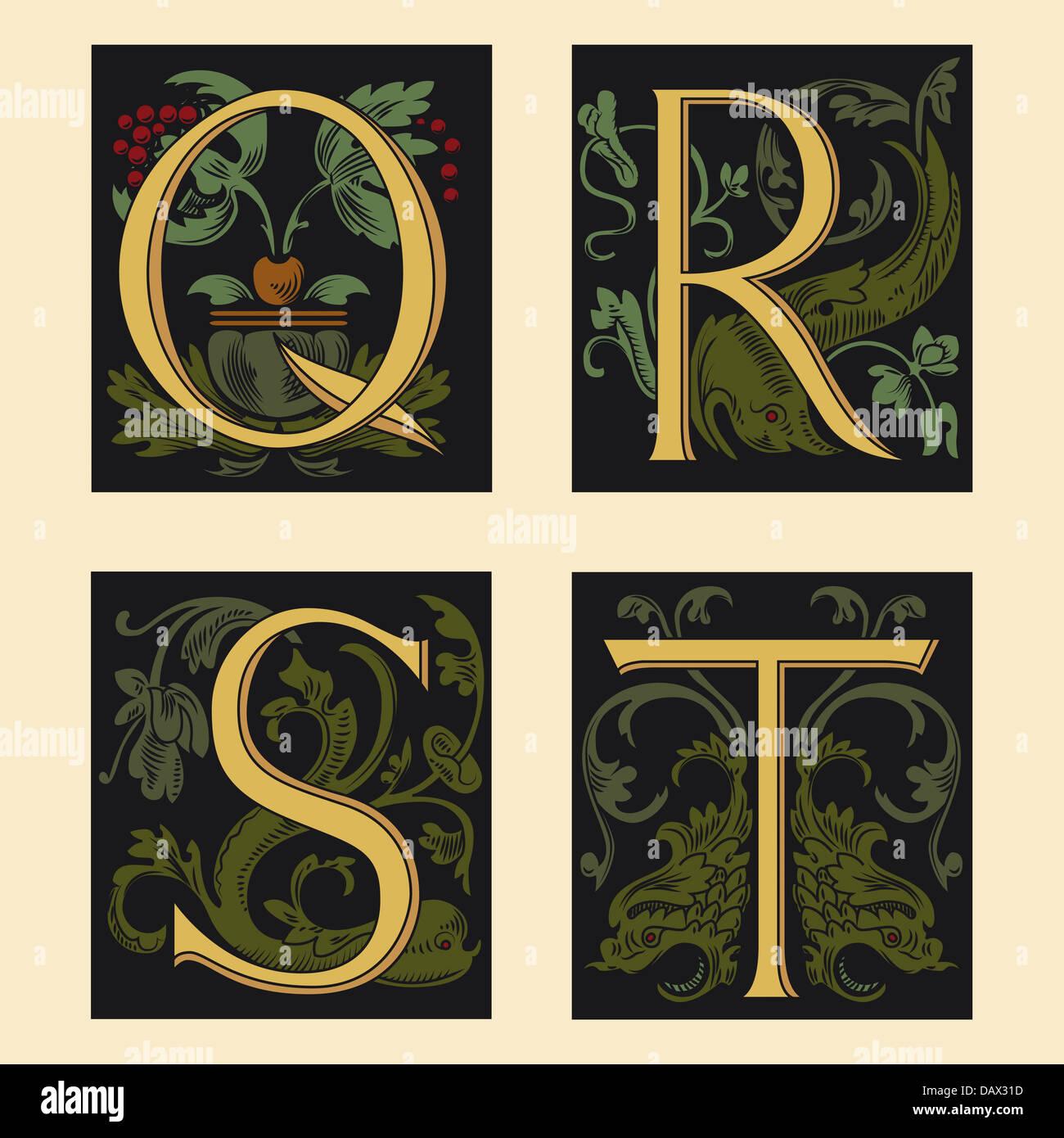 Sixteenth-Century alphabet Q R S T - Stock Image