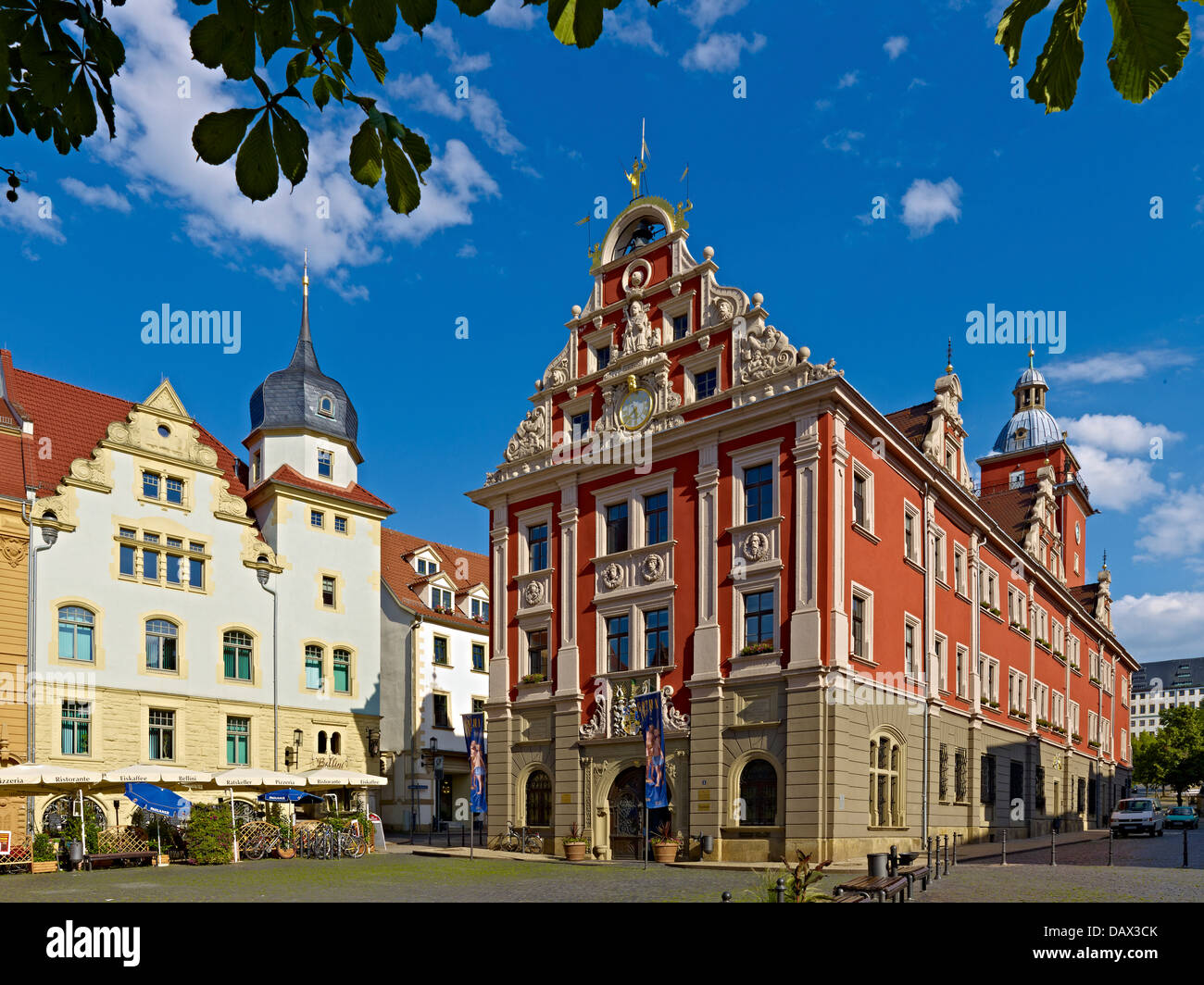 Town Hall with sidewalk cafe, Hauptmarkt, Gotha, Thuringia, Germany - Stock Image