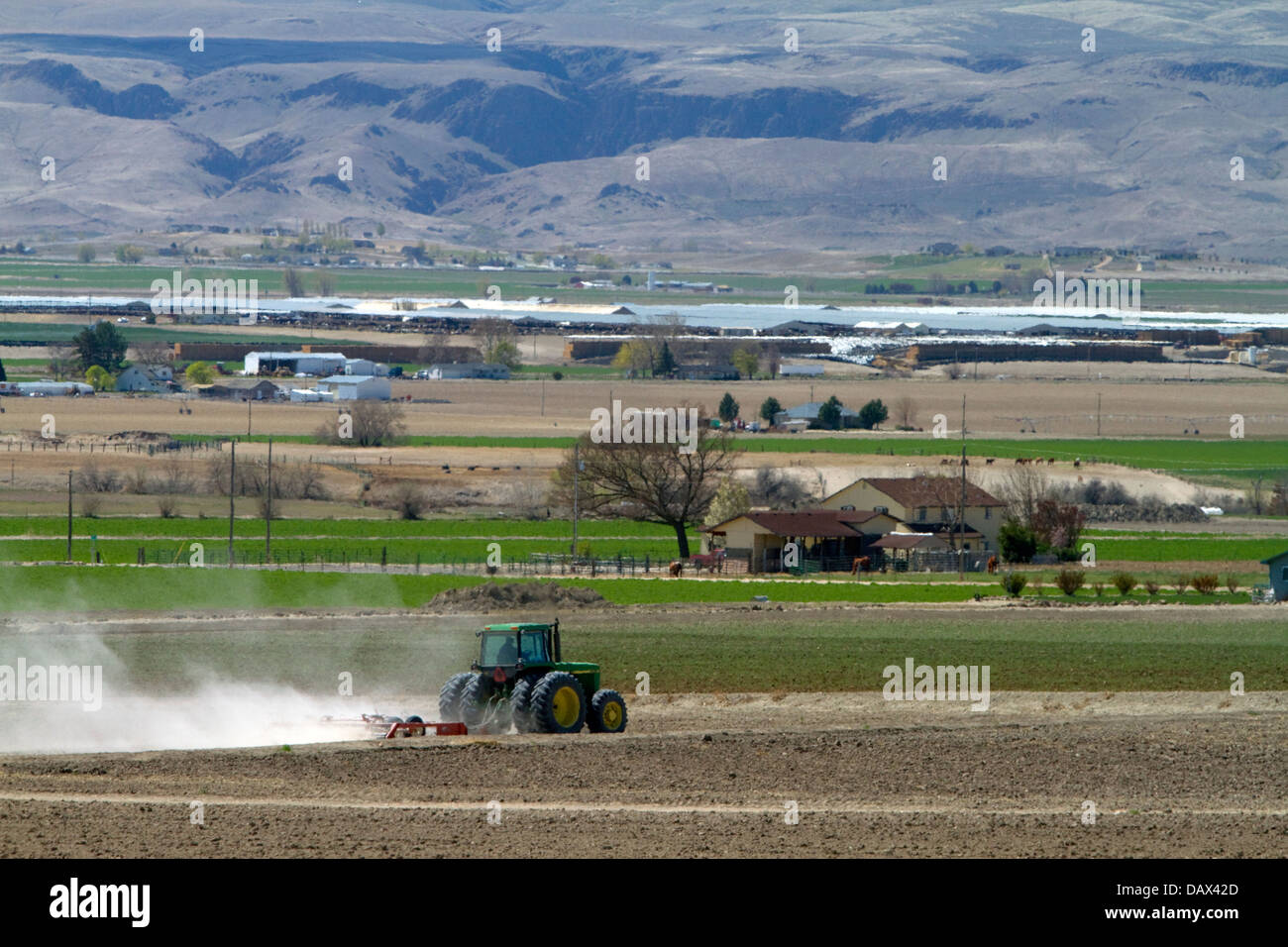 Tractor being used for spring tilling in Canyon County, Idaho, USA - Stock Image