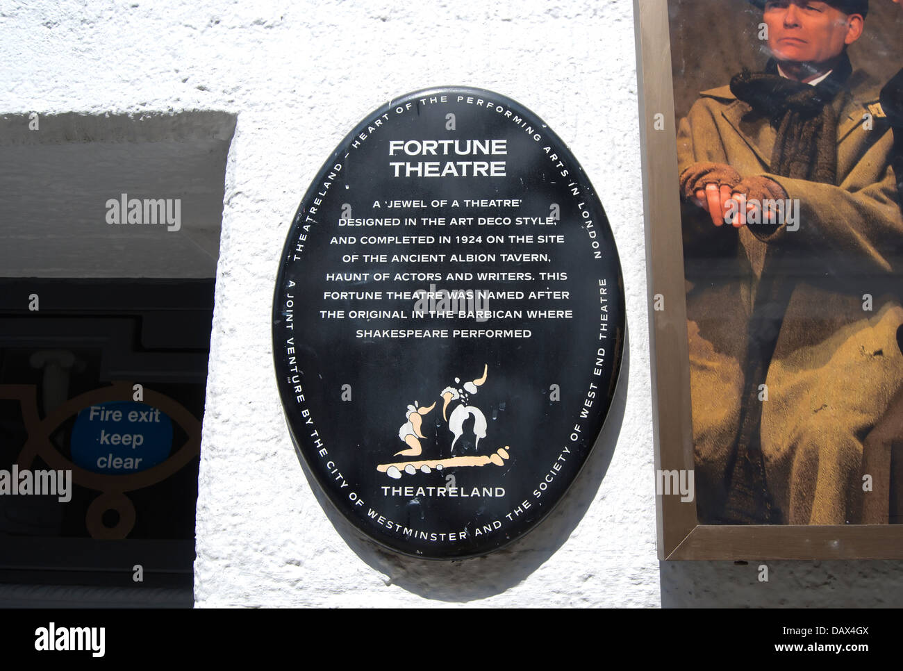 london theatreland history plaque outside the 1924 fortune theatre, covent garden, london, england - Stock Image