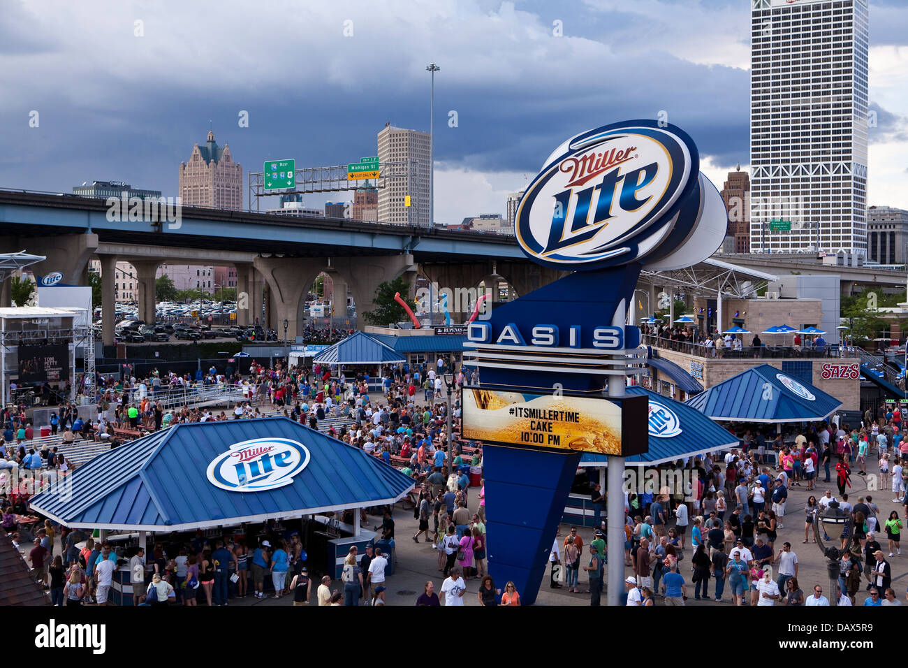 Miller Lite Oasis stage is seen on the Henry W. Maier Festival Park (Summerfest Grounds) in Milwaukee - Stock Image