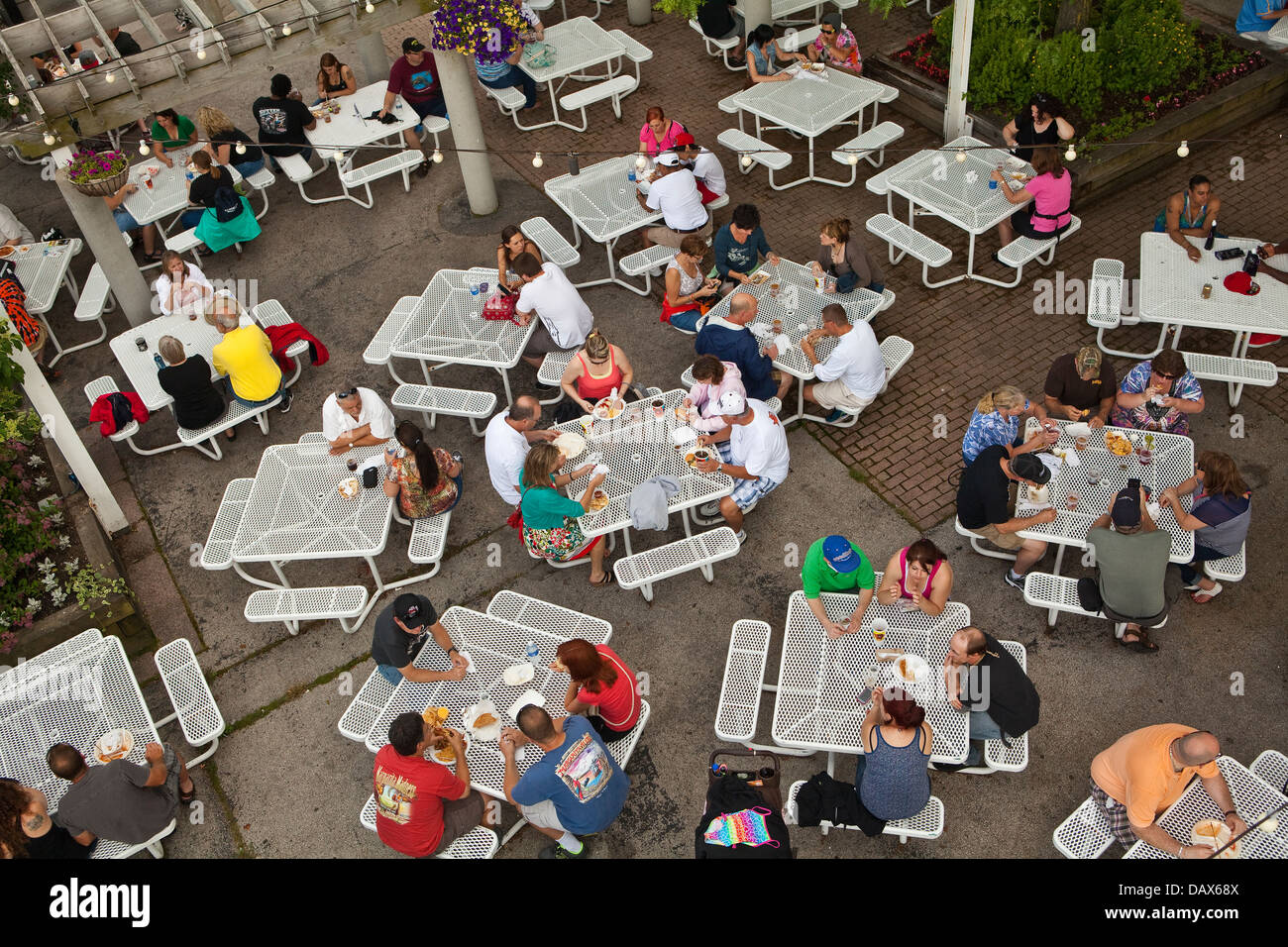 Food court is seen on the Henry W. Maier Festival Park (Summerfest Grounds) in Milwaukee - Stock Image
