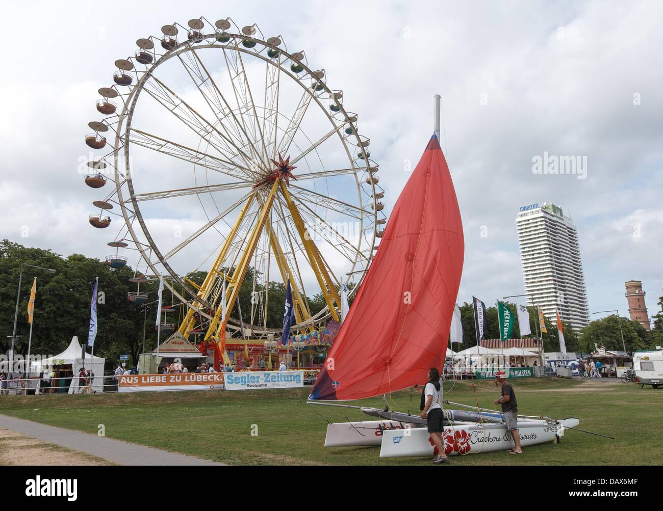 A giant wheel rotates at the opening of the 124th Travemuende Week in Travemuende, Germany, 19 July 2013. The festival Stock Photo