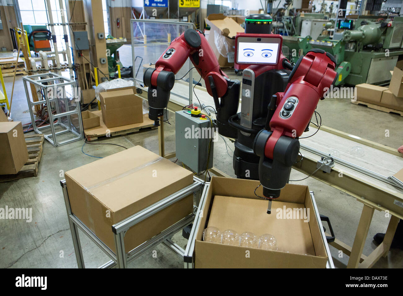 Baxter the robot made by Rethink Robotics at the Rodon Group plastic molding factory.  - Stock Image