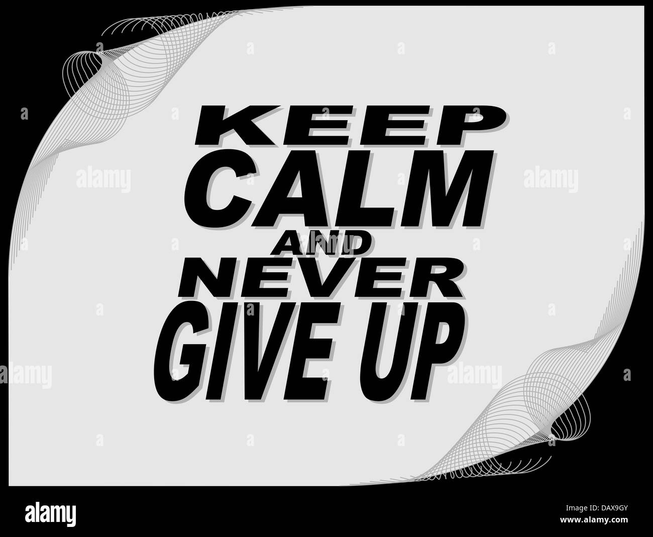 Poster Or Wallpaper With An Inspiring Phrase Keep Calm And Never Give Up