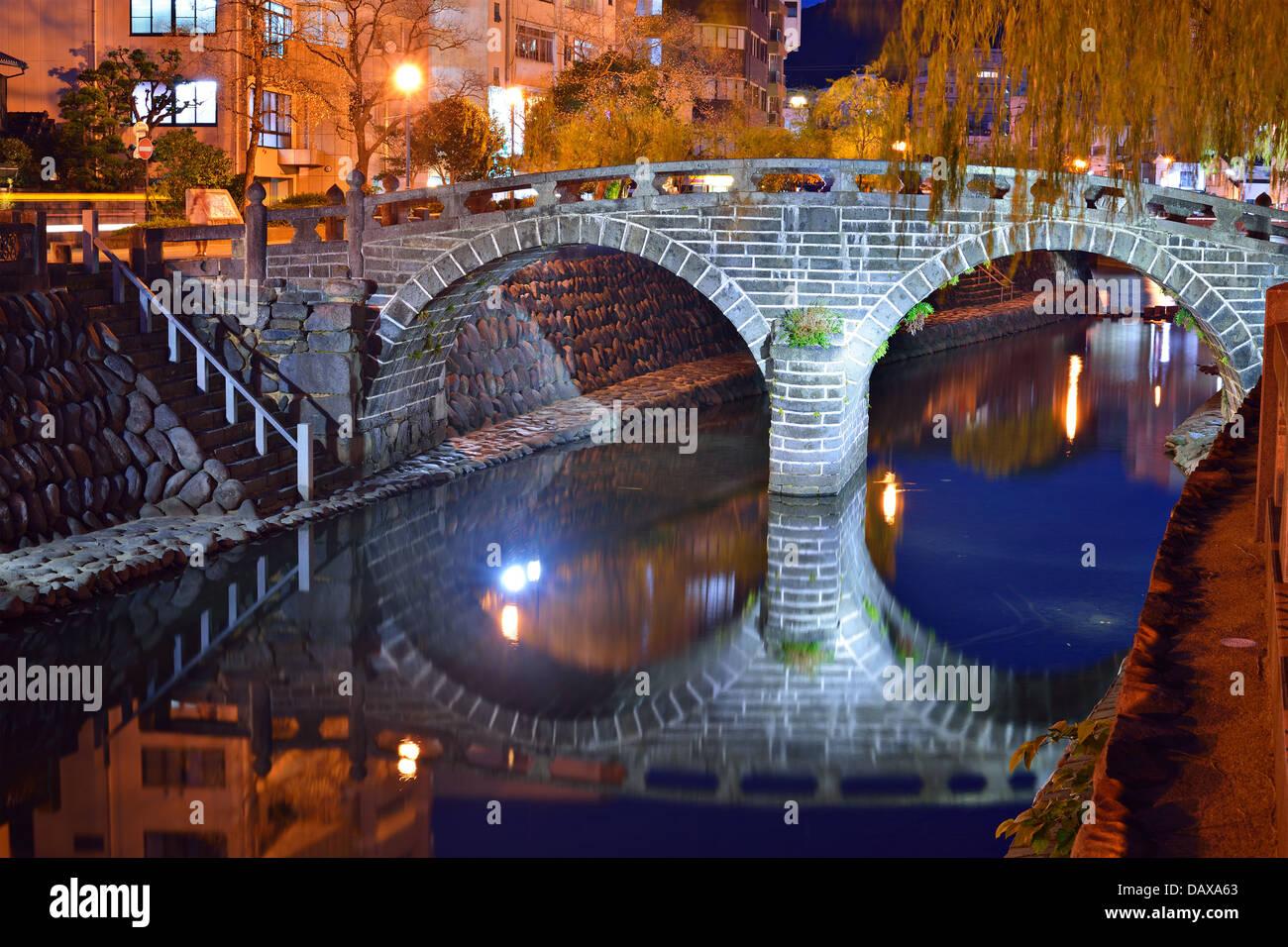 Nagasaki, Japan at the historic Megane 'Spectacles' Bridge. - Stock Image