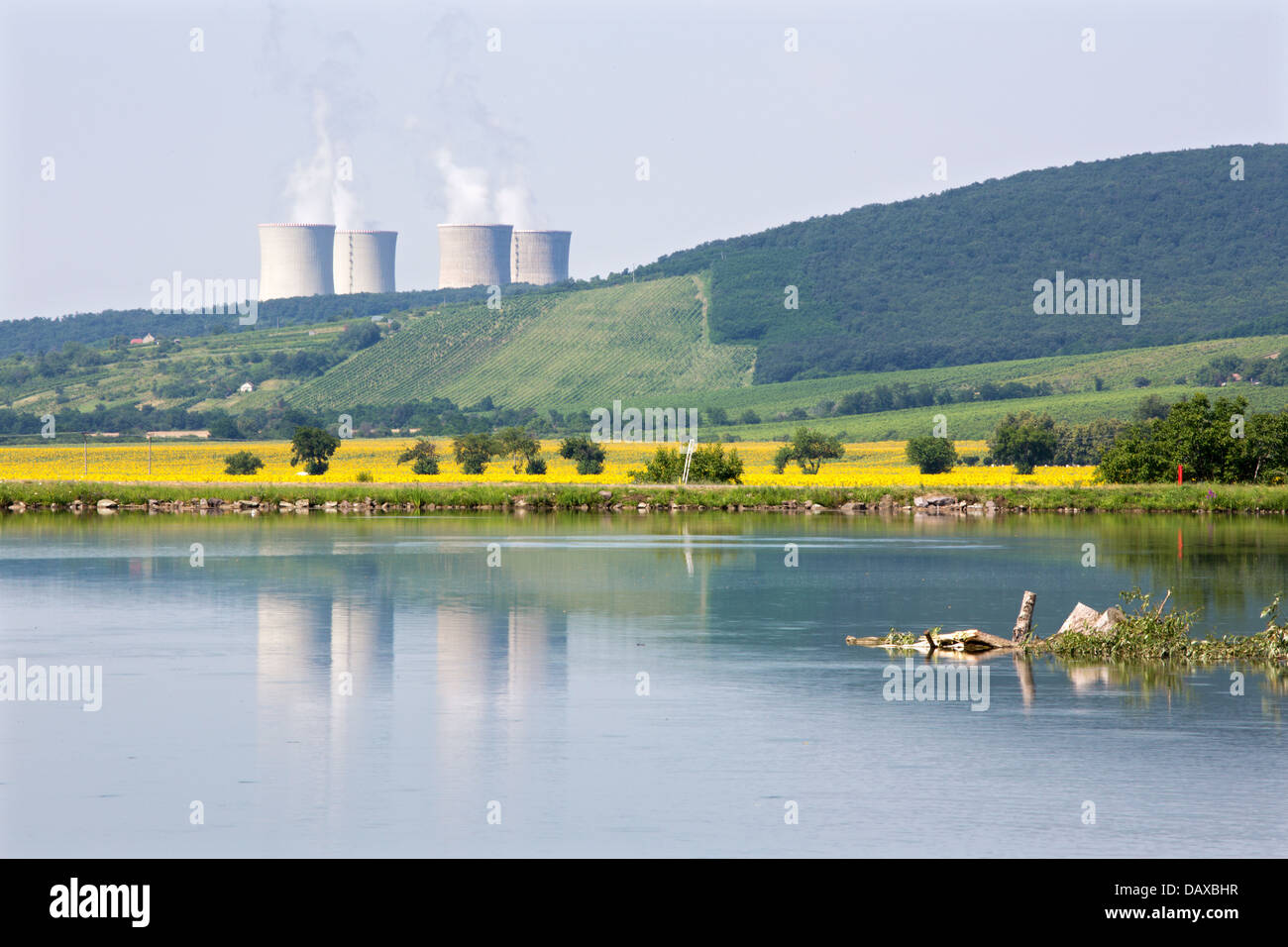Hron river and nuclear power plant Mochovce - Slovakia - Stock Image