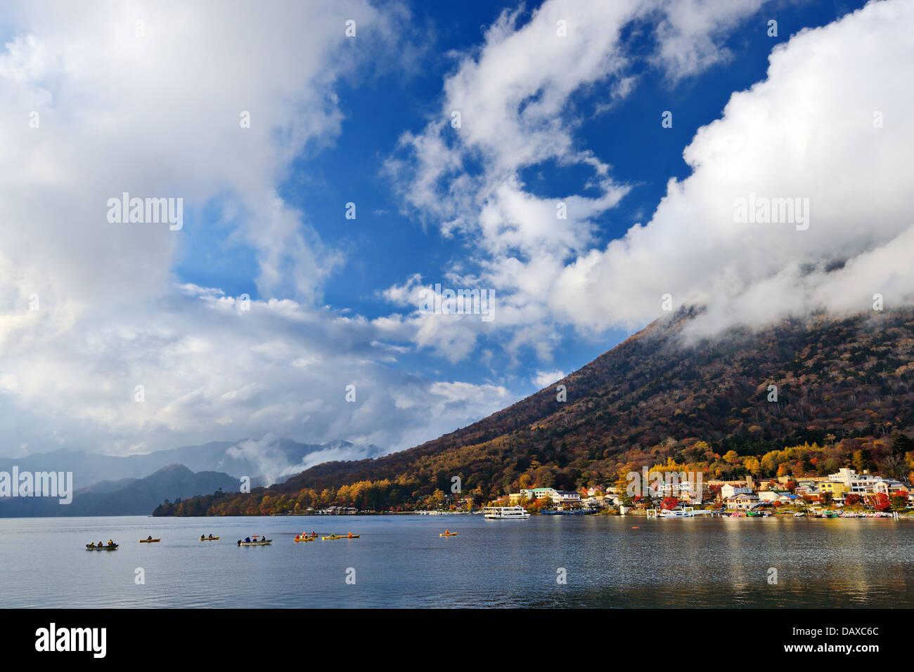 Mt. Nantai and Lake Chuzenji in Nikko, Japan. - Stock Image