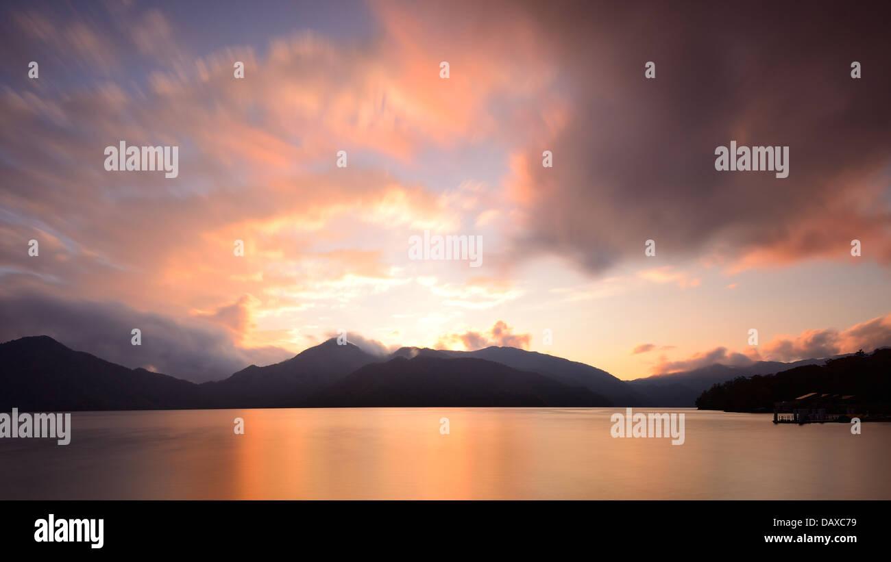 Lake Chuzenji in Nikko, Japan at sunset. - Stock Image