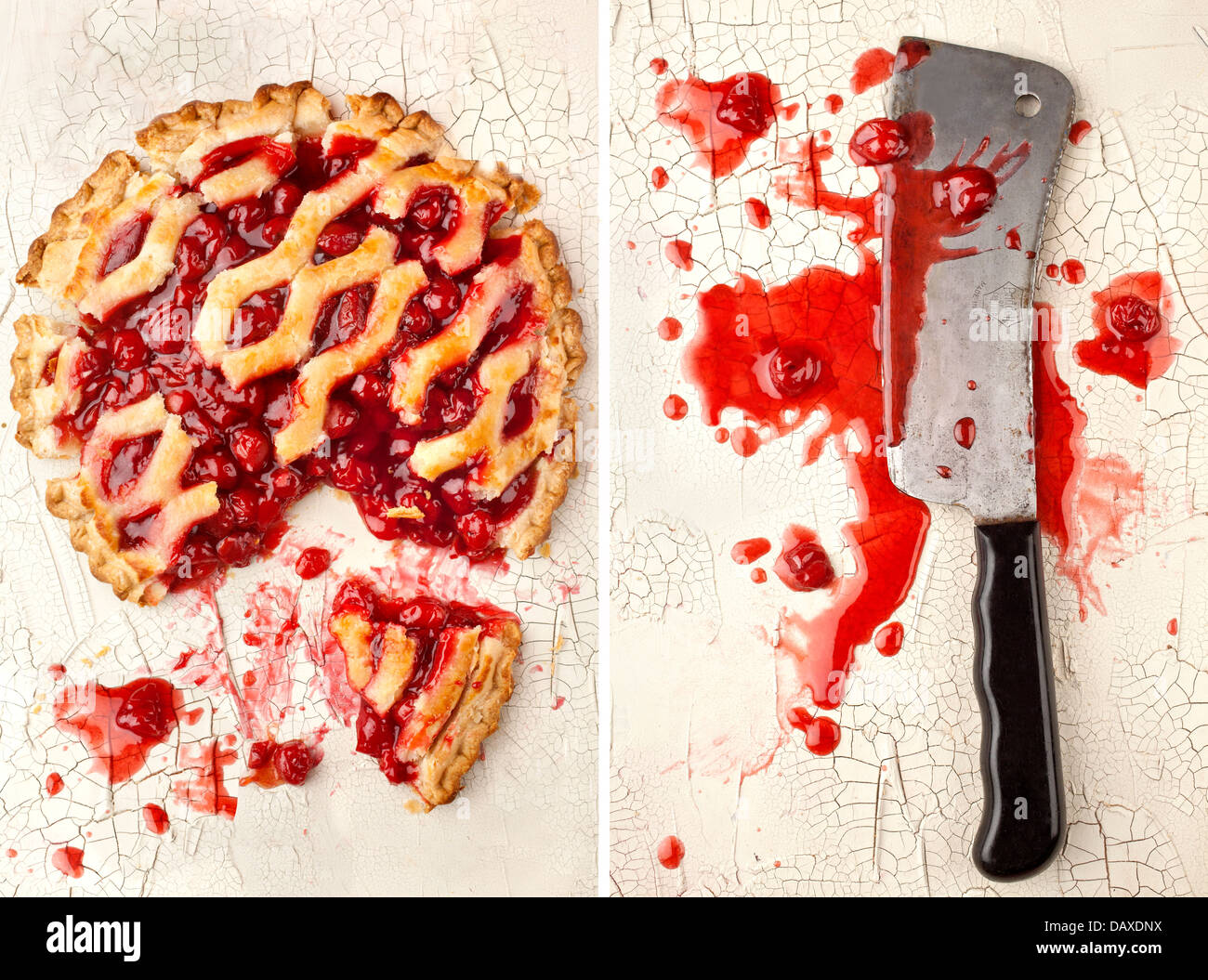 Cherry pie murdered by clever - Stock Image