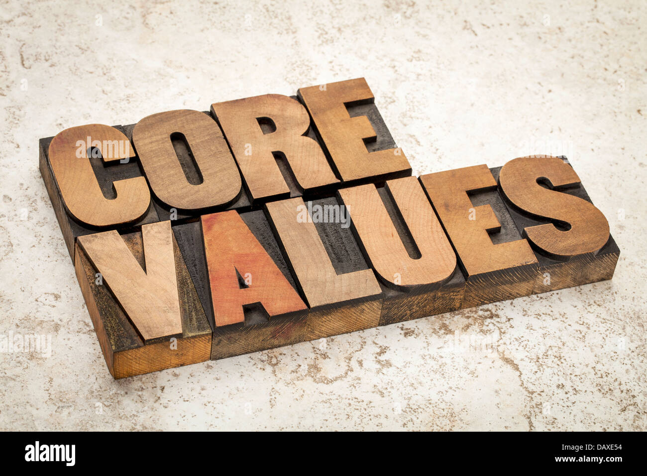 core values - ethics concept - text in vintage letterpress wood type on a ceramic tile background - Stock Image