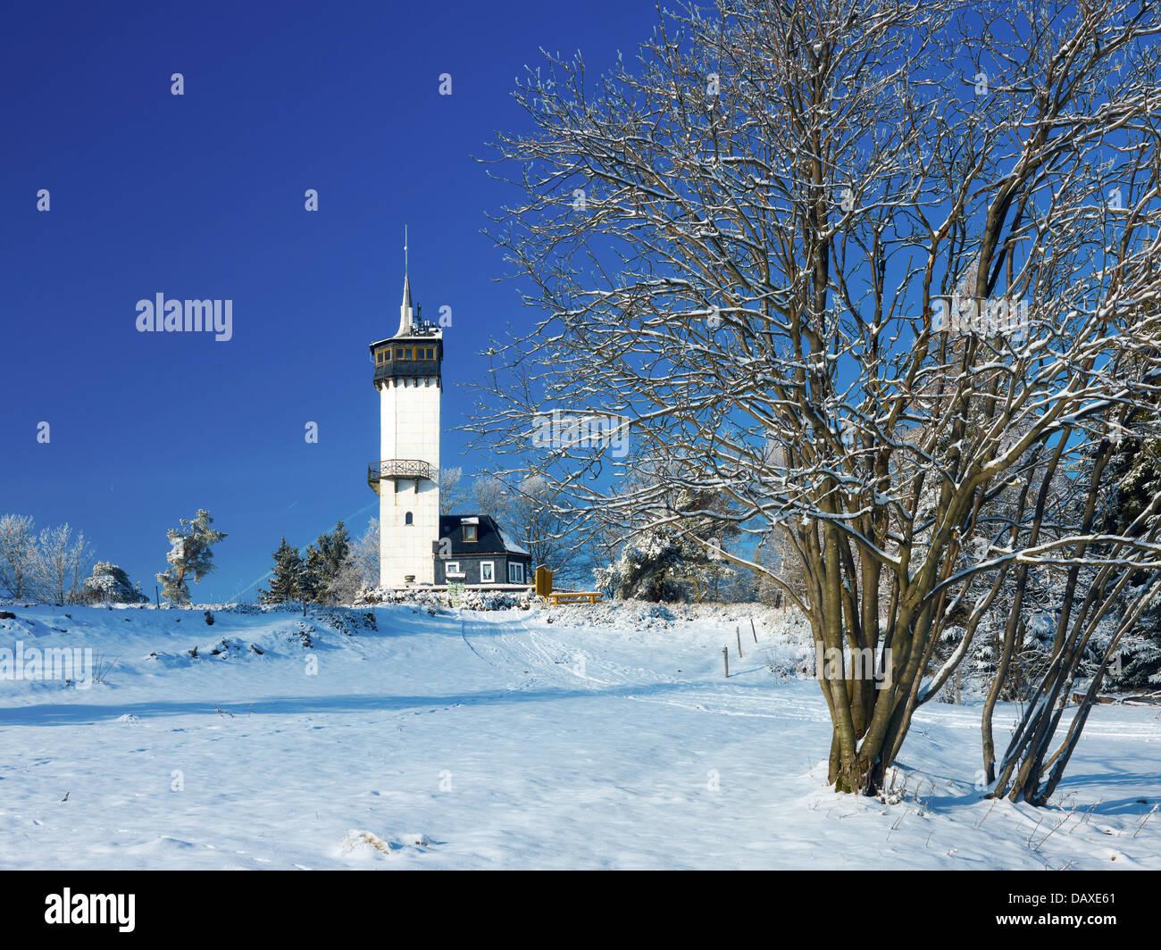 Fröbelturm, Kirchberg mountain, 784 above sea level, Oberweissbach, Thuringia, Germany - Stock Image