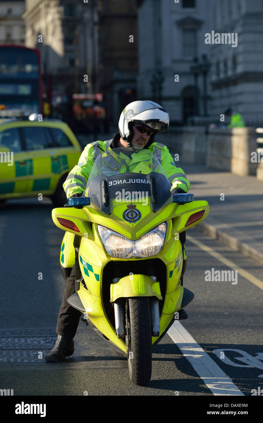 London, England - April 2, 2013: A London Ambulance paramedic at the scene of an emergency on Waterloo Bridge. - Stock Image