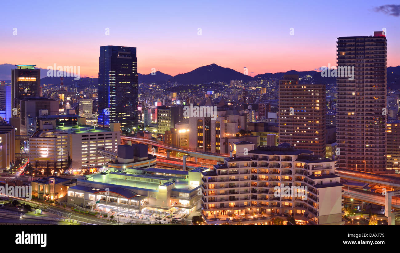 Kobe, Japan downtown cityscape at the port. - Stock Image