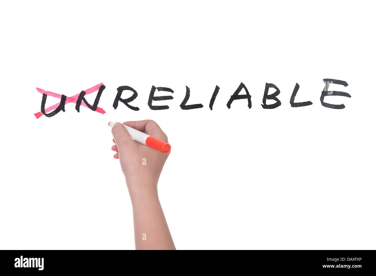 Unreliable to reliable concept, hand writing on white board - Stock Image