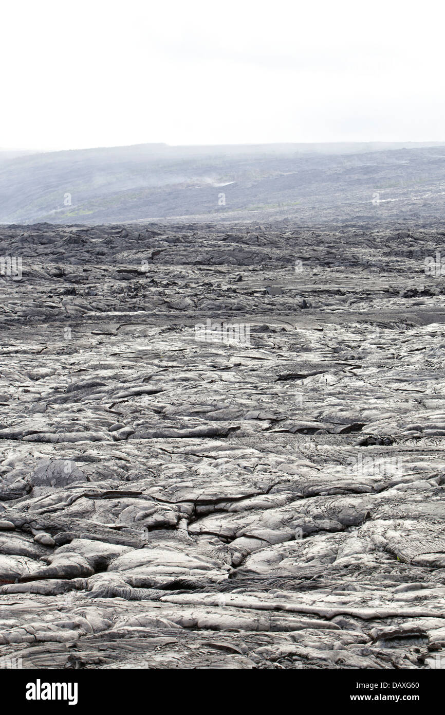 Barren lava field covering the township of Kalapana, on the Big Island of Hawaii. - Stock Image